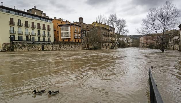 Foto que refleja una crecida del Ega en marzo de 2014, con la bola del puente del Azucarero prácticamente cubierta.