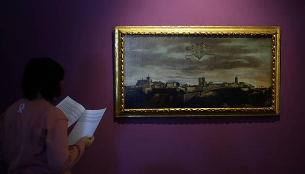 El lienzo, ayer, en el Museo de Navarra. Por el momento, se desconoce su autoría, si bien la casa de subastas lo atribuyó a Juan Bautista Martínez del Mazo.