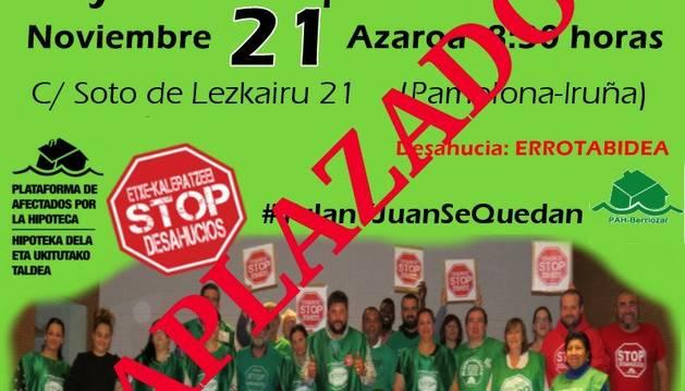 Imagen que ha publicado la PAH de Berriozar en su cuenta de Twitter anunciando el aplazamiento del desahucio.