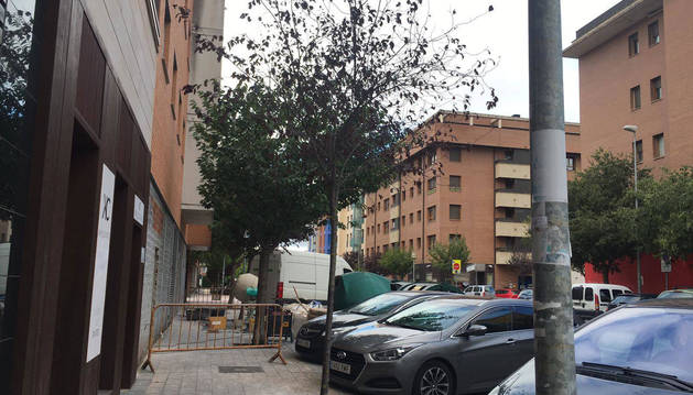 Foto del local en obras, en la calle Zarraondoa, en Huarte.