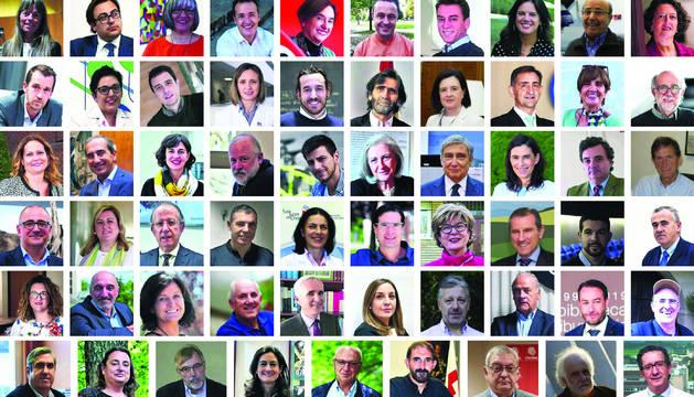 Montaje fotográfico de las 60 personalidades que plantean sus retos para el futuro de Navarra.