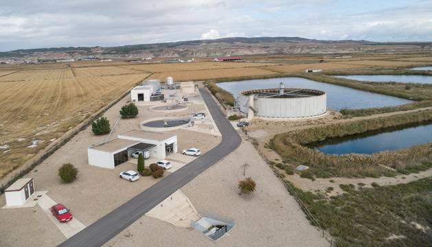 Imagen de la planta depuradora de Valtierra-Arguedas donde se construirá el nuevo tanque de tormentas.