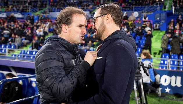Foto de Jagoba Arrasate y Pepe Bordalás, antes del partido del 10 de noviembre que terminó con polémica.