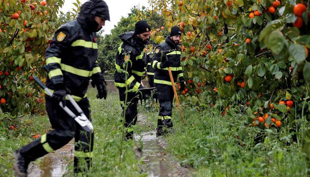 La Unidad Militar de Emergencias (UME) y el escuadrón de caballería de la Guardia Civil, durante las tareas de búsqueda de Marta Calvo en la localidad valenciana de Manuel.