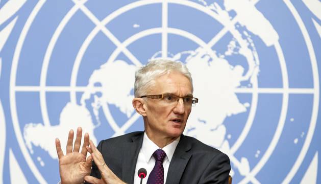 El subsecretario general de la ONU para Asuntos Humanitarios y Ayuda de Emergencia, Mark Lowcock, durante la presentación en Ginebra de la lista de necesidades prioritarias para financiar el próximo año.
