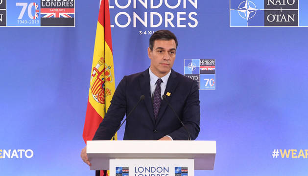 Pedro Sánchez, en la rueda de prensa en la cumbre de la OTAN en Londres.