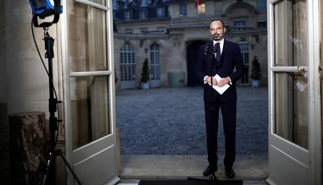 Comparecencia ante los medios del primer ministro galo, Édouard Philippe.