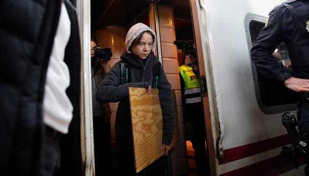 foto de Llegada de Greta Thunberg a Madrid en tren desde Lisboa