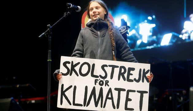 Un momento del discurso de Greta Thunberg tras la Marcha por el Clima de Madrid.