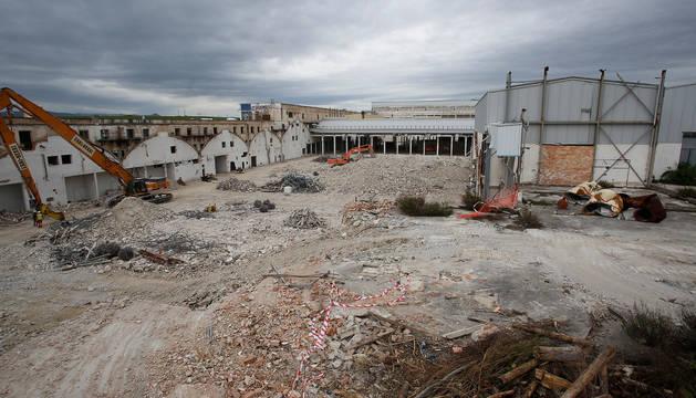 Imagen de mayo de este año del derribo de la planta de Súper Ser en Cordovilla.