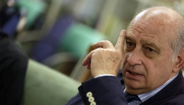Jorge Fernández Díaz, este miércoles por la tarde en Pamplona en un momento de la entrevista.