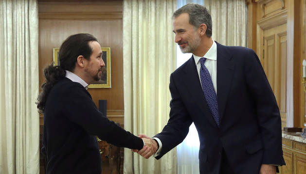 Pablo Iglesias en su reunión con el Rey Felipe VI.