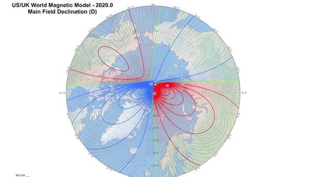 Mapa de declinación del polo norte magnético para 2020.