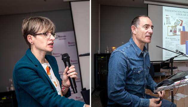 Foto de Beatriz Urrizola, responsable por Liber Ediciones, y Alfredo Pina, líder del proyecto por la UPNA.