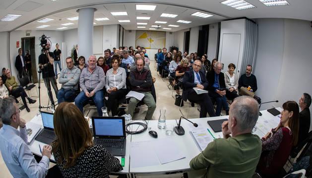 Aspecto de la asamblea general de la Mancomunidad de la Comarca de Pamplona.
