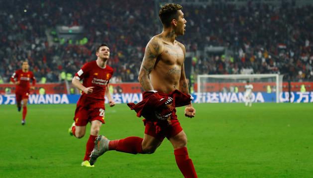 Imagen de Roberto Firmino celebrando el gol que hacía al Liverpool campeón del Mundial de Clubes.