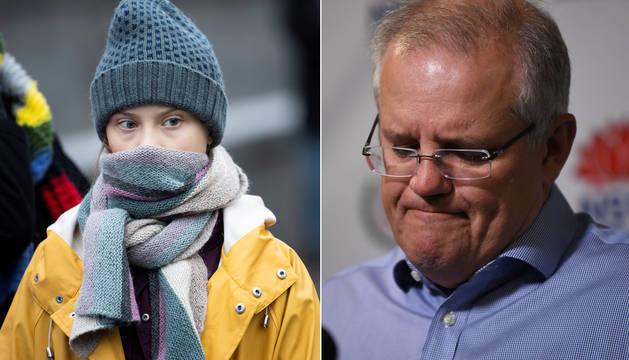 Combo de imágenes de la activista Greta Thunberg y el primer ministro australiano Scott Morrison.