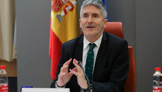 El ministro del Interior en funciones, Fernando Grande-Marlaska, en la rueda de prensa de este jueves.
