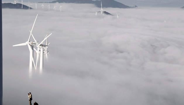 Los aerogeneradoes emergen entre la niebla en una mañana invernal.