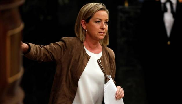 La diputada de Coalición Canaria, Ana Oramas, tras su intervención ante el pleno del Congreso de los Diputados.