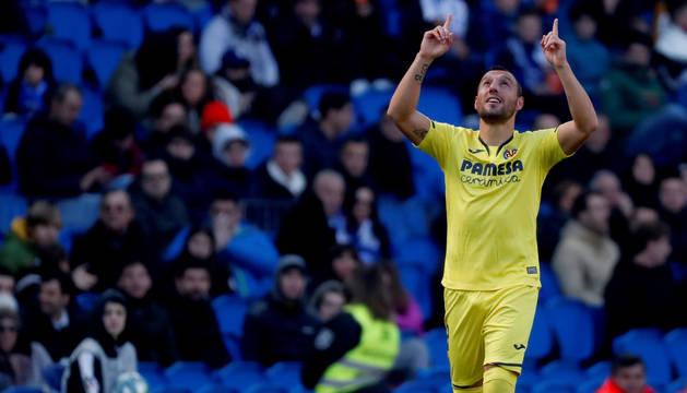 Imagen de Cazorla celebrando el gol que daba la victoria al Villarreal ante la Real Sociedad.