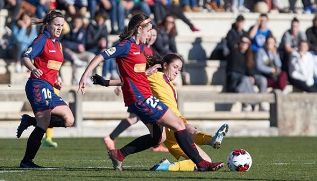Imagen del partido Osasuna-Barcelona B de la liga Reto Iberdrola disputado este domingo en Tajonar.