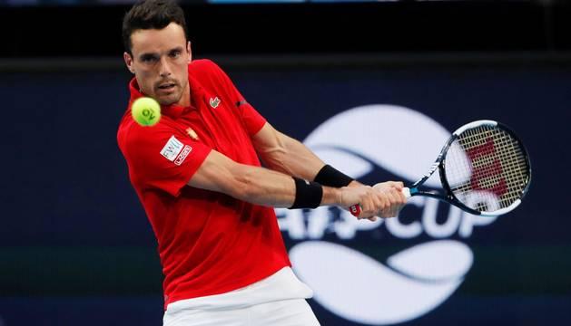 Foto de Roberto Bautista, en su partido ante Franco Roncadelli en la Copa ATP.