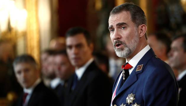 foto de El rey Felipe VI preside la celebración de la Pascua Militar de 2020 en el Palacio Real de Madrid