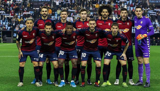 Los jugadores de Osasuna posan para los medios gráficos antes del último encuentro disputado ante el Celta de Vigo.