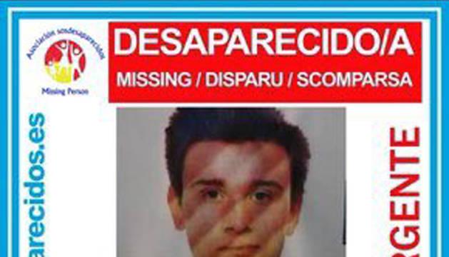 Cartel alertando de la desaparición del joven donostiarra.