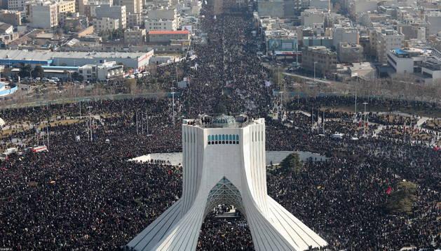 Foto aérea del funeral del general Qasem Soleimaní.