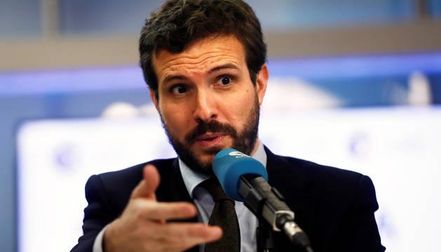 El líder del PP, Pablo Casado, durante su entrevista en la cadena Cope.