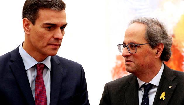 Sánchez y Torra, en Pedralbes en diciembre de 2018.