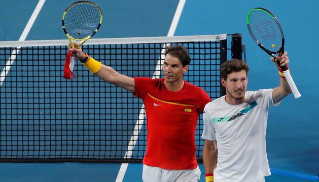 Nadal y Carreño celebrando la victoria ante Bélgica.