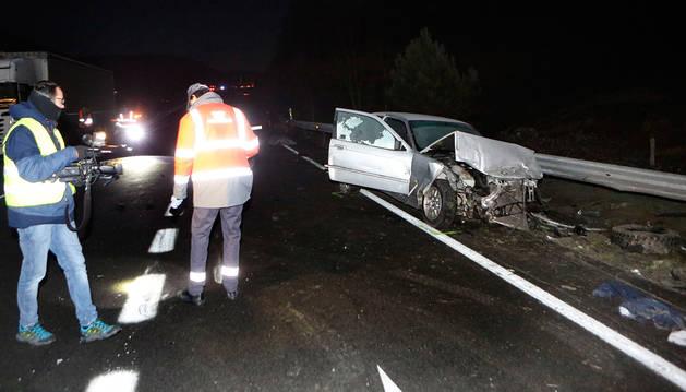 foto de Uno de los vehículos involucrados en el accidente mortal de Olagüe.