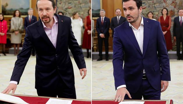 Pablo Iglesias y Alberto Garzón, en la toma de posesión de sus cargos.