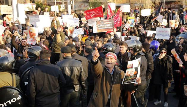 Una de las manifestaciones contra el Gobierno iraní en Teherán.