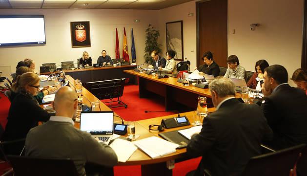 Vista de la reunión de la Comisión de Educación en el Parlamento de Navarra.