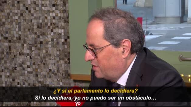 Torra dice que si el Parlament le desautoriza tras sentencia firme del Supremo, convocará elecciones