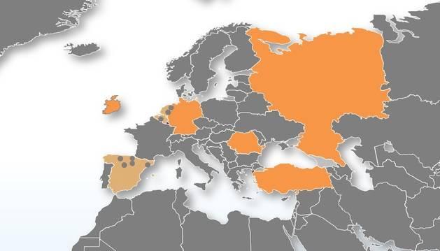 mapa de Países que forman parte del ámbito territorial de Manunet