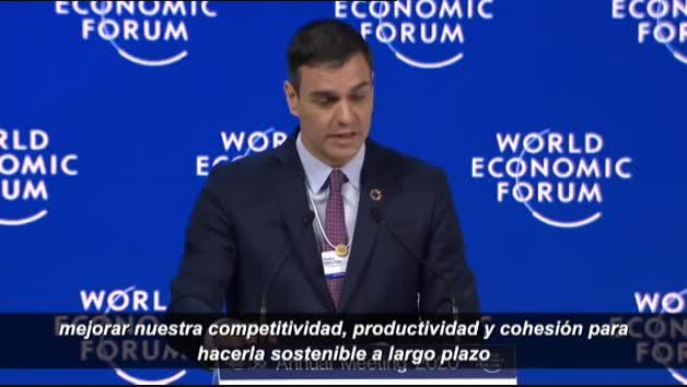 Pedro Sánchez defiende en Davos la fortaleza de la economía española