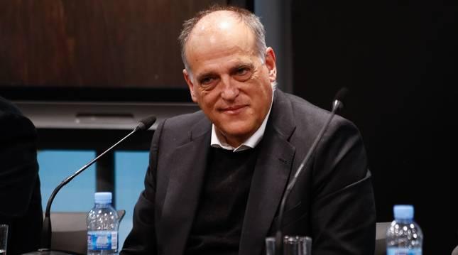 Foto de Javier Tebas, en el acto de presentación de un estudio sobre el consumo de fútbol en locales públicos.