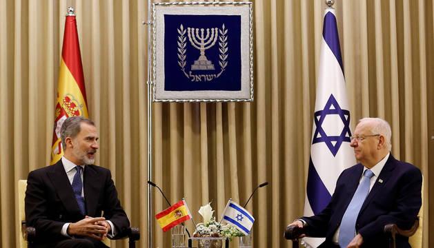 El Rey Felipe VI, junto al presidente de Israel, Reuven Rivlin.