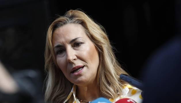La vicesecretaria de Organización del PP y presidenta de los populares navarros, Ana Beltrán, durante un acto con cargos electos municipales.