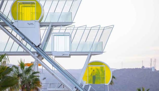 El funicular o doble ascensor inclinado se encuentra en el Hotel Riosol Island of Stars, en Gran Canaria.
