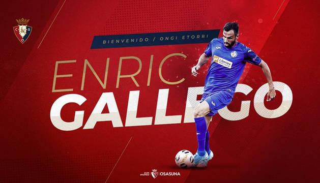 Imagen del anuncio oficial de la cesión de Enric Gallego colgada en las redes sociales por el club rojillo.