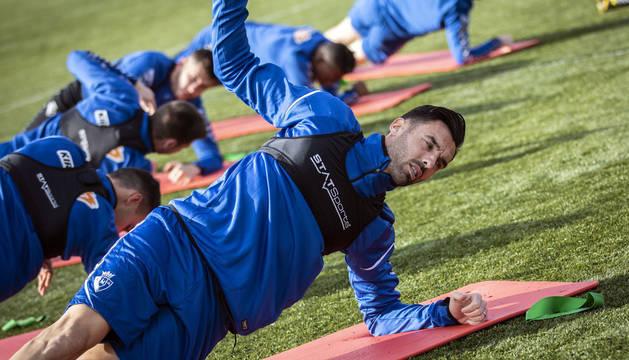 Enric Gallego entrena este martes en Tajonar.