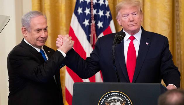 foto de El presidente de Estados Unidos, Donald Trump, en laa rueda de prensa junto al primer ministro israelí, Benjamin Netanyahu