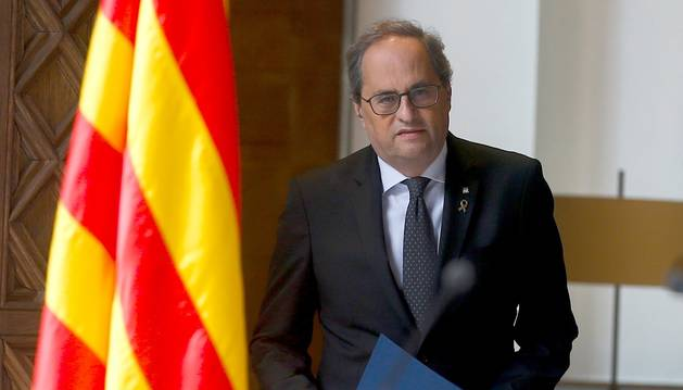 Foto del presidente de la Generalitat, Quim Torra, durante la declaración institucional que ha ofrecido este miércoles en el Palau de la Generalitat.