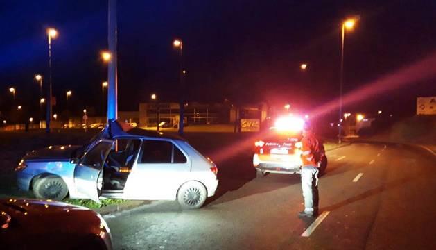 Foto del accidente con alcoholemia positiva en Mutilva.